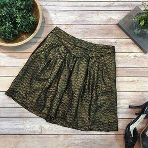Sz 0 GAP Gold Metallic Lined Mini Skirt w/ Pockets